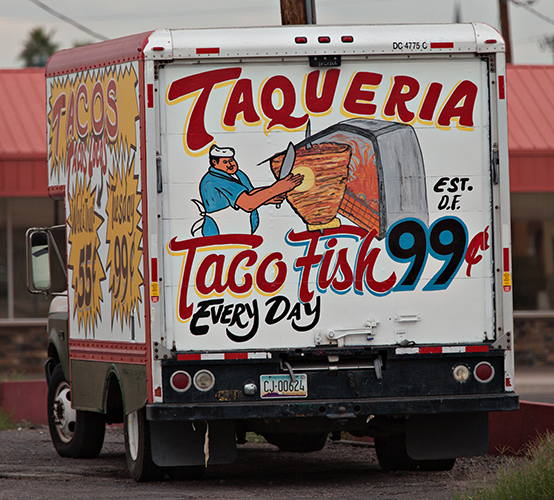truck as signboard for mexican food resturant