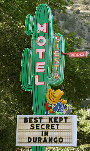 cactus themed motel sign