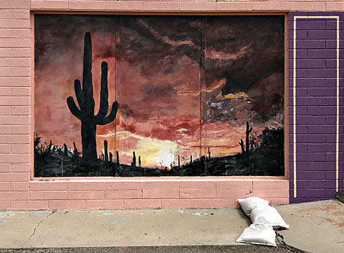 Saguaro themed mural