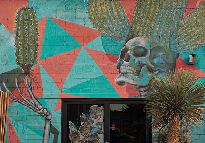 cactus and skeleton mural