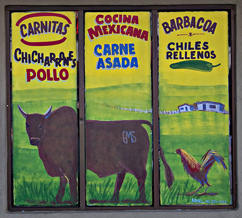 Mexican butcher shop sign