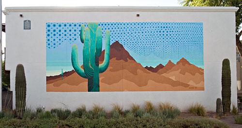 saguaros and saguaro mural