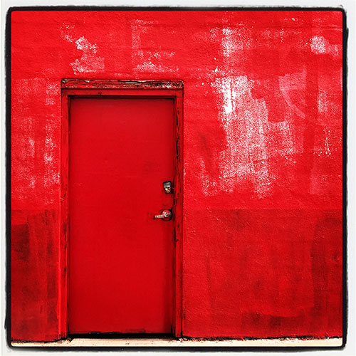 red door and wall