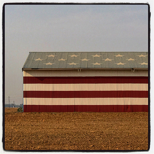 stars and stripes painted building